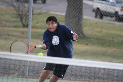 by: Photo By Gary Lindberg - Jason Garcia earned a win against Mountain View while playing second singles for Madras.