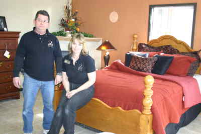 by: Photo By Susan Matheny - Owners Dave Stephens and Joy Abbe at the new Sleep Headquarters.