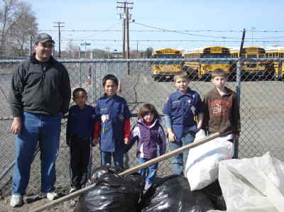 by: Submitted  Photo - Cub Scouts Pack 58 with the haul from their clean-up. From left, leader Nicholas Dicintio, Erminio Parra-Pena, Enrique Parra-Pena, Jeff Dicintio, Zelek McNeilly. The little girl is Jenna, a sister of one of the scouts.