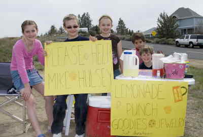 by: Photo By Shannon Winegar - Kids who raised $138 in four hours Sunday, April 27, at their lemonade stand were, from left, Kati Viscaino, 10, Joshua Hocker, 10, Jessa Hocker, 8, Dalton Waldow, 6, and Nathan Viscaino, 7, seated.