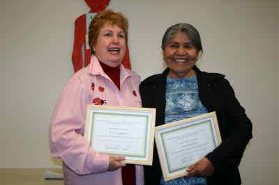 by: Photo By Susan Matheny - Volunteers Bonnie Namenuk, left, and Viola Govenor with their Outstanding Citizen awards.