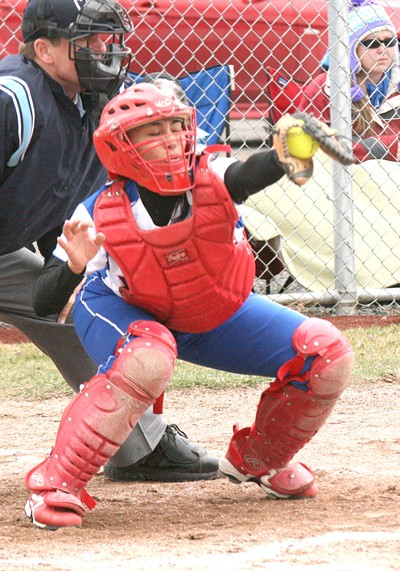 by: Photo by Joe McHaney/The Pioneer - Madras senior catcher JoElla Smith was recently named the Class 4A Tri-Valley Conference Player of the Year. She helped MHS win a conference title.