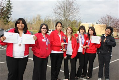 by: Submitted Photo - Madras High students at the competition, from left, Laura Garcia, Ana Gonzalez, Leslee Henderson, Melissa Buhlinger, Taylor Ellenburg, Milagro Gonzalez,  and John Hernandez.