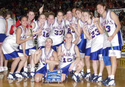 by: Photo By Brian Liebenstein - The state champs, from left to right in the back row, are: Raylene Thomas, Whitney Sisk, Kristina Roofener, Elise Hawes, Rylee Sweeny, Maurica Cortez, Susan Ahern, Christina Barnes and Jaylyn Suppah. Seated, from left, is Tosha Wilson and Jare Retherford.