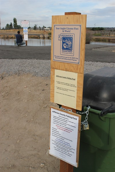 by: Photo by Holly M. Gill - Rules for the new Jefferson County Youth Fishing Pond are clearly spelled out on signs next to the facility. Adults are not allowed to fish at the pond unless they possess disabled angler permits.