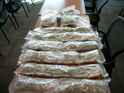 by: Submitted photo - About 10 pounds of marijuana was seized during a traffic stop Sept. 29.