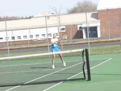 by: Photo By Brian Liebenstein - Emily Struck returns a shot for Madras High's number one doubles team on which she pairs with Lindsay Carroll during Saturday's Madras tournament. Struck and Carroll earned first in the consolation bracket.