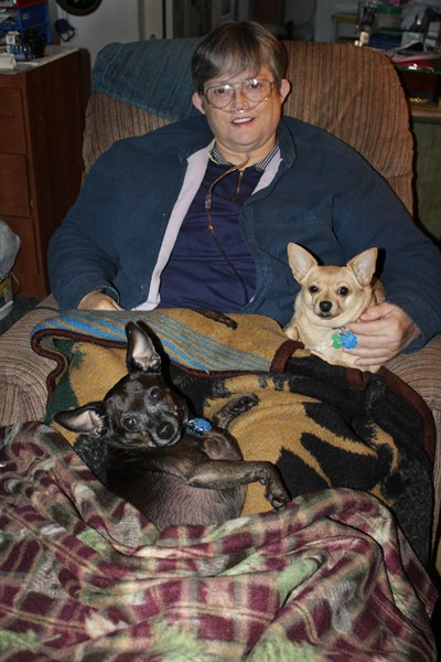 by: Submitted Photo - Sherrill Eaton and pups Bambi, right, and Thumper, center.