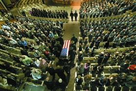 by: Jaime Valdez, More than 1,000 law enforcement officers and others stood as Randy Nunnenkamp's casket passed by Tuesday afternoon at the Sunset Presbyterian Church.