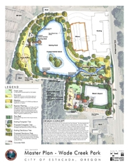 by: Contributed Graphic, An artist rendition of Wade Creek Park shows how the City proposes a skate park, wildlife areas, a playground and restrooms.