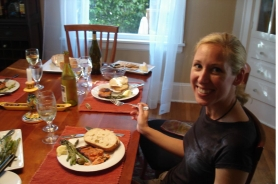 by: Michelle Winner, Suzanne Korock enjoys the honey-burbon salmon she helped prepare.