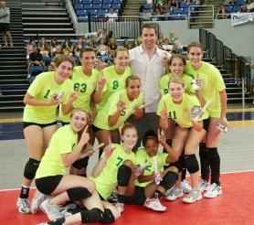 by: contributed photo, The Nike Northwest 16-year-old Air Elite squad celebrates their championship at the elite Volleyball Festival in Reno last week.
