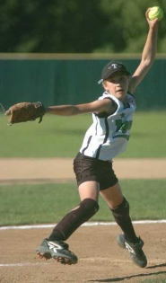 by: DAN BROOD, THROWING HEAT — Tigard's Shayna Curtis struck out 14 batters in five innings pitched in the District 4 ages 9-10 Little League softball title game.