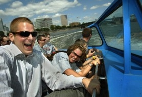 by: L.E. Baskow, The Blazers' Joel Przybilla and his wife Noelle get a bit wet during a ride in a Willamette Jet Boat. Przybilla  signed a new contract Monday morning at a ceremony before family, friends and fans at the Eastbank Esplanade.