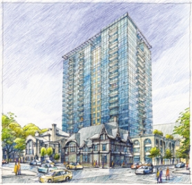 by: Special to, An artist's rendering shows a view of the proposed Ladd Tower from the corner of Southwest Broadway and Columbia Street. The 21-story tower would share a block with the Historic Ladd Carriage House (bottom middle) and First Christian Church (bottom left), on the corner of Southwest Park Avenue and Columbia.