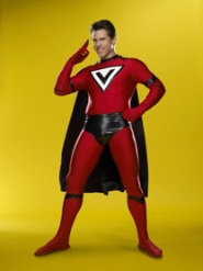 "by: F. Scott Schafer, Chris Watters in his Major Victory costume is one of 11 finalists on the Sci-Fi Channel's new reality series ""Who Wants to be a Superhero?"""