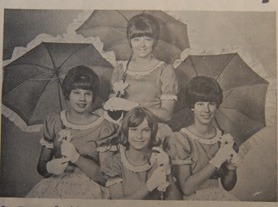 by: File photos, The 1966 Old Fashioned Fair Court included bottom row, Sue Sparks from Sunset Primary, Theresa Nodurft from Willamette Primary, Rae Wisdom from Wilsonville Primary, and top, Virginia Enderlin from Bolton Primary. Virginia was crowned 1966 queen. (See her now in group photo on page A1.)