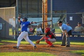 by: submitted phot, Lakeridge's Grant Force, left, follows through after hitting a home run during Tuesday's league tournament game against Clackamas. The Cavs won the contest 10-4.