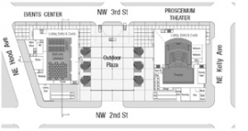 by: contributed illustration, The plan for the Gresham Center for the Arts now includes a pair of two-story buildings with a plaza between. The building on the left and the plaza would be built first, while the structure on the right is planned for seven years down the road.
