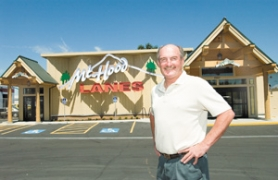 by: John Klicker, Manager Doug Greenlee says that Mt. Hood Lanes opened 'on a whim' a couple weeks ago. The new alley, which was built almost from scratch on top of what used to be Eastmont Lanes, has been drawing excited customers.