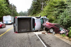 by: Oregon State Police, It can happen in an instant: The Oregon State Police released this photo of the July 9th crash on the central Oregon coast which claimed the life of Inner Southeast Portland resident and former Sellwood bookstore owner Rebecca Marie Howe. Her sedan was struck by a pickup truck which crossed into her lane, after veering into and out of a roadside ditch.