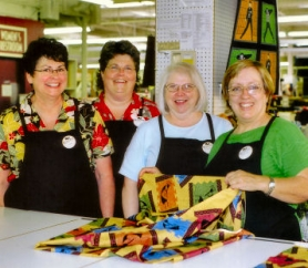 by: Rita A. Leonard, Staff at the Mill End Store who will teach Craft classes include, from left, Customer Service Representative Pam Llewellyn, and salesladies Kathy, Vanessa, and Sallie.