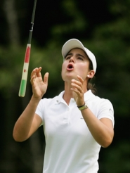 by: SCOTT HALLERAN, Mexico's Lorena Ochoa reacts to a missed birdie putt earlier this month in New Jersey, but no matter. She's the LPGA Tour's leading money winner this season and is scheduled to play Columbia Edgewater Country Club next month.