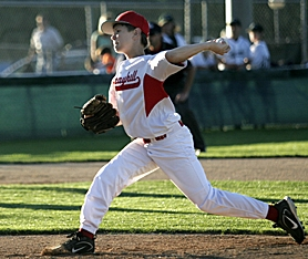by: JONATHAN HOUSE, BRING IT ON — Murrayhill pitcher Jace Fry (shown here during the District 4 Tournament) held Pendleton hitless through five innings of his team's 9-3 state championship victory last Thursday at Ashland.