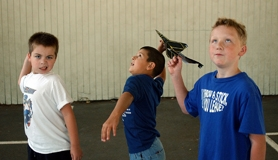 by: Ray Pitz, Joshua Bailey, Pier Simeonov and Caylor Cameron, middle, try their new phantom jets during the Digging Deeper into Learning science camp at McKay Elementary School.