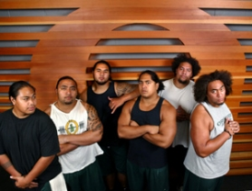 by: L.E. Baskow, Duck linemen (from left to right) Patrick So'oalo, Matt Toeaina, Palauni Ma Sun, Enoka Lucas, Fenuki Tupou and Simi Toeaina are roommates as well as teammates.