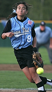 by: MILES VANCE, Cedar Mill pitcher Kim Ryder delivers a pitch during her four-hit shutout performance on Friday against Soraida Juliana Little League of Curacao in the Little League Softball World Series at Alpenrose Dairy.