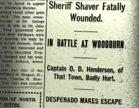 by: Submitted photo, A newspaper headline from 1906, when Clackamas County Sheriff John R. Shaver was shot trying to apprehend robbery/murder suspect Frank Smith.