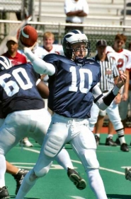 by: St. Peter's College, PASSING FANCY — Scott Bonnono, who quarterbacked Tigard to the 2003 state championship, gets ready to throw a pass for St. Peter's College.