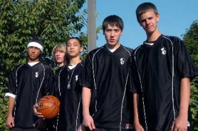 by: DAN BROOD, KINGS OF THE COURT — The Portland Hoop Kings, an ages 14-and-under boys basketball team that fared well at the national AAU championships includes local players, from left, Indy Ashford, Ian McGetrick, Jalen Caoile, Ryan Burghardt and Ben Ellsworth. The team won three straight games at the national event.