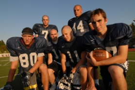 by: Vern Uyetake, Ryan Shepherd, front left, Will Darkins, Jon Dulong, Duncan White, Matt Stutes, back left, and Kyle Lavender will some of the key players for a Lake Oswego football team that expects to make another run deep into the playoffs. During the last five years, the Lakers have played for the state title twice, been in the semifinals twice and the quarterfinals once.