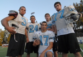 by: Vern Uyetake, The Lakeridge football team will depend heavily this fall on players like Taylor Young, far left, Zach Young, Jeff Hutchins, Sean Howley and Robbie Kool, front. This year's Pacers team has plenty of talented players but the team's depth could be a question mark. Lakeridge will open the season next Friday at Canby and then host Centennial the following week.