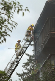 by: Vern Uyetake, One person died Tuesday afternoon following a two-alarm fire at the Oswego Summit condominiums in the Mountain Park area.