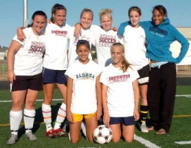 by: DAN BROOD, BACK FOR THE BOWMEN — Among the returning starters for the Sherwood High School girls soccer team are (back row, from left) Renee Hlasnik, Erica Chamberlain, Courtney Smurdon, Emily Schulte, Kristin Oenning, Kacie Parris, (front row) Amanda Dutra and Michelle Hlasnik.