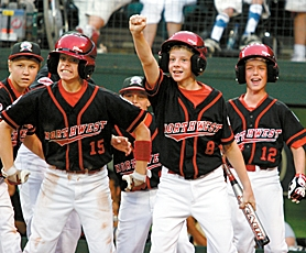 by: MILES VANCE, IN THE HUNT — Murrayhill players (from left) Jace Fry, Austin Perry, Alec Powell, Corey Pool and Perry Lampman celebrate Trevor Nix's game-tying home run against Georgia on Saturday.