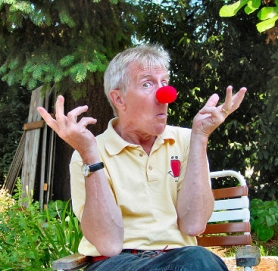 "by: Merry MacKinnon, Westmoreland resident and professional clown Albert Alter also does mime. ""Clowns are bumblers--that's why audiences relate to them"", he explains."