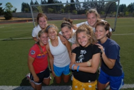 by: Vern Uyetake, The Lake Oswego girls soccer team will have a number talented upper-classmen to depend on this year. That group includes, from left to right, Emily Rohde, Samantha Harding, Margaret Johnson, Alyssa Hopcus, Lanakila MacNaughton, Caroline Corbett and Brooke Bartholomew.