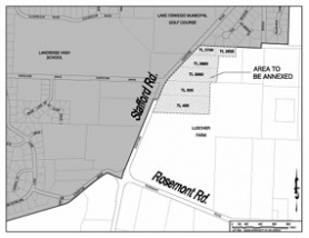 by: , This map shows the six portions of land that the city may annex.