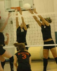 by: DAN BROOD, BLOCK IT — Megan Van Noy (10) and Brooke Davis return for the Lady Bowmen.