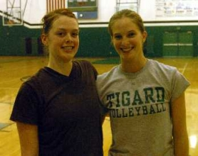 by: DAN BROOD, ELDER TIGERS — Amanda Stone (left) and Laura Craig are the only two seniors on the Tigard volleyball roster.