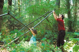 "by: ©2006 ADRIANA VOSS-ANDREAE, Artist Julian Voss-Andreae works on his Natural Cycles art installation, called ""Large Buckyball Around Trees"" with daughter Juliana. The completed structure at Tryon Creek State Park will be approximately 30 feet in diameter."