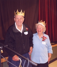 by: Sharon Nesbit, Newly crowned king and queen Carlos Anderson and Ethel Kirkham are all smiles at the 91st meeting of the East Multnomah Pioneer Association.