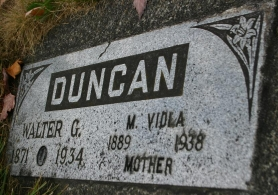 by: Marcus Hathcock, Walter Godfrey Duncan is buried at the Firhill Cemetery on the north side of Highway 26 near University St.