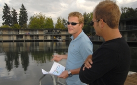 by: Vern Uyetake, Jacob, 25, toured the Villas on Lake Oswego with a group of friends last Thursday. Looking for an affordable buy on the lake, the first-time homebuyer saw opportunity in the project. Below: Docks are included with some of the units.