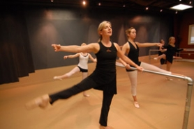 by: Vern Uyetake, Mary Manning, left, practices ballet moves with Kristin Weber at the new West Linn Dance Center, located in the Robinwood Center.