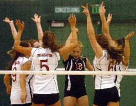 by: Dan Brood, HANDS IN THE AIR – Members of the Tualatin High School volleyball team, including Gabriela Bosley (9), Sarah Kirsch (5), Jordan Skinner (18) and Abby Messenger (6) celebrate an ace serve during the Wolves' match at Tigard.